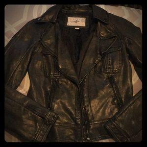 Black pleather biker jacket